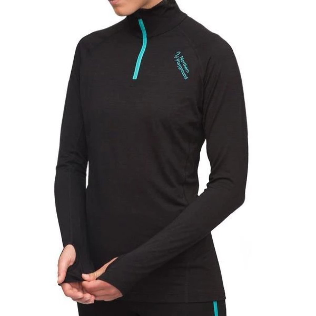 Northern Playground Zipwear - Zipneck Wool - Womens thermal base layer