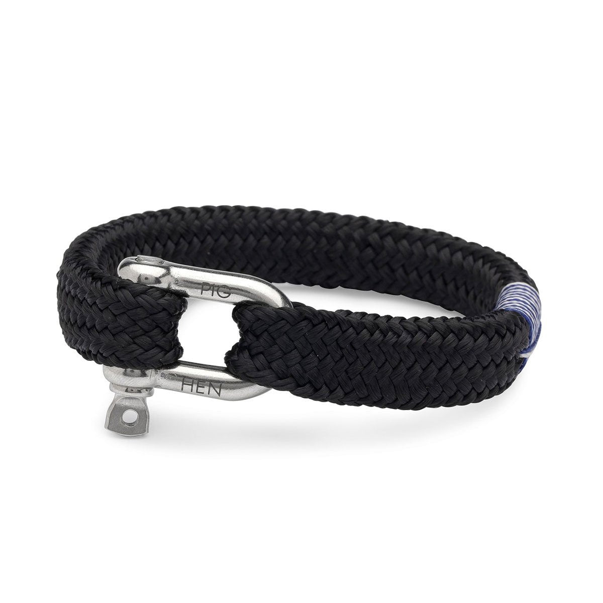 Pig & Hen | Gorgeous George | Men's Rope Bracelet - Black | Silver - Sailing Rope Bracelet