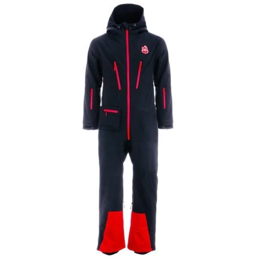 Red7SkiWear CG1 All-in-One Ski Suit, black one piece snowsuit, all-in-one snow and ski suit. Unisex ski onesie for men and women.