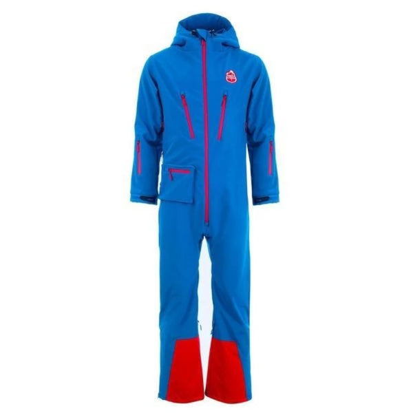 Red7SkiWear CG1 All-in-One Ski Suit, blue one piece snowsuit, all-in-one snow and ski suit. Unisex ski onesie for men and women.