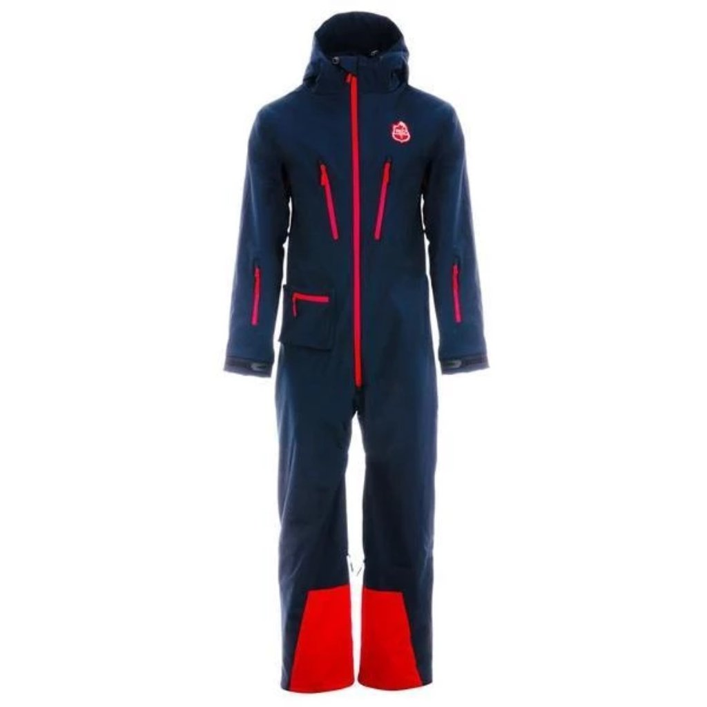 Red7SkiWear CG1 All-in-One Ski Suit, navy one piece snowsuit, all-in-one snow and ski suit. Unisex ski onesie for men and women