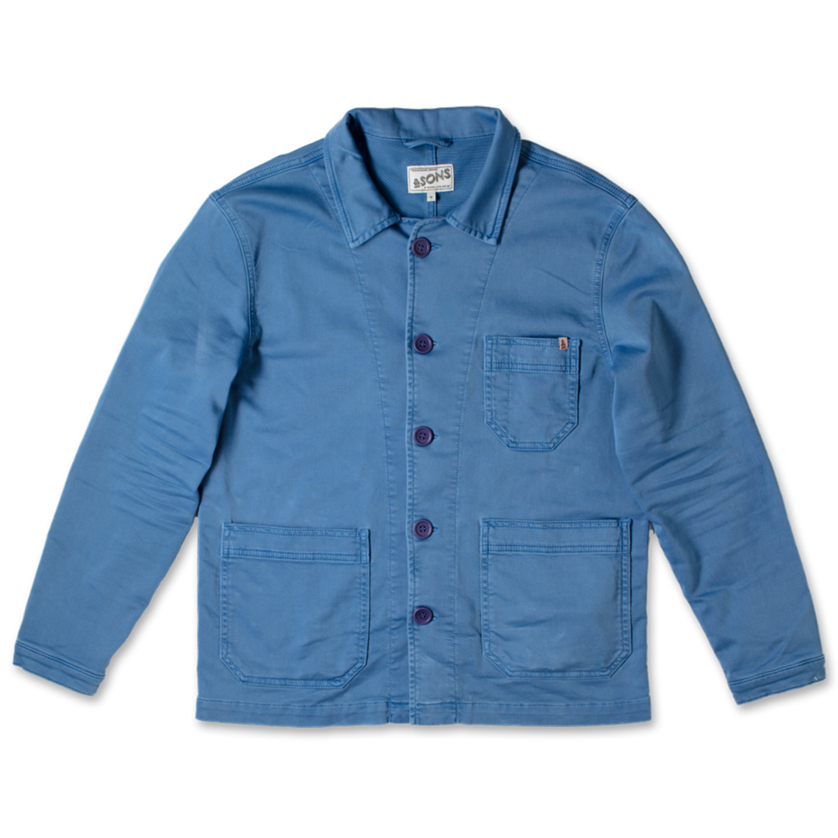 BBOLT-1, &SONS, Blue Bolt Chore Jacket, Blue, Blue Work Jacket | Classic Jacket | French Work Jacket