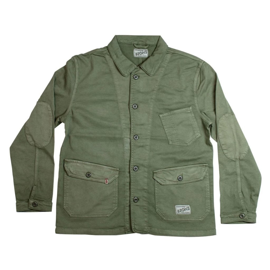 &SONS | Carver Jacket II | Mens Chore Jacket | Cotton Twill Chore Coat, Army Green