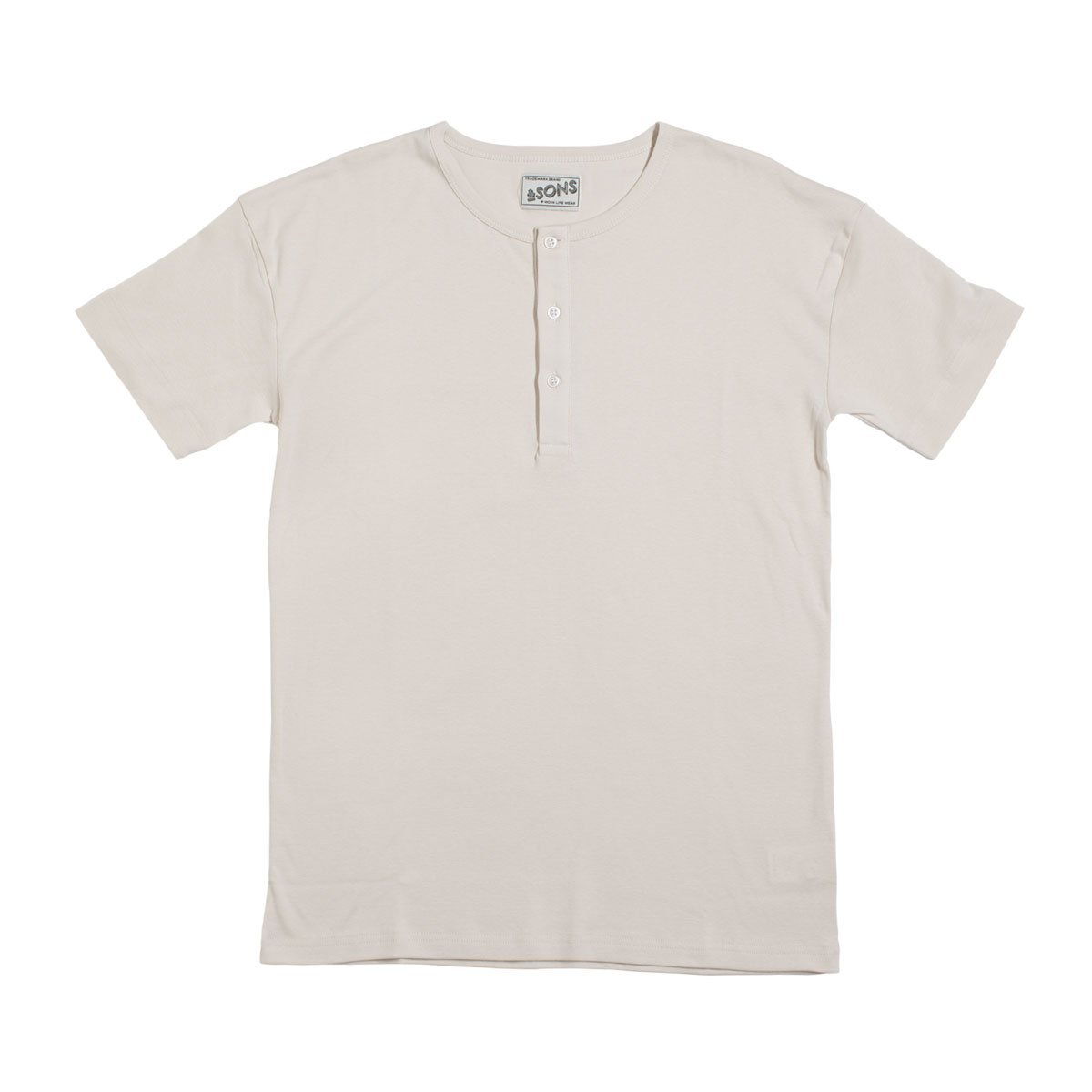 &SONS | Elder Grandad Short Sleeve Top | Henley T-Shirt | Heavy Cotton
