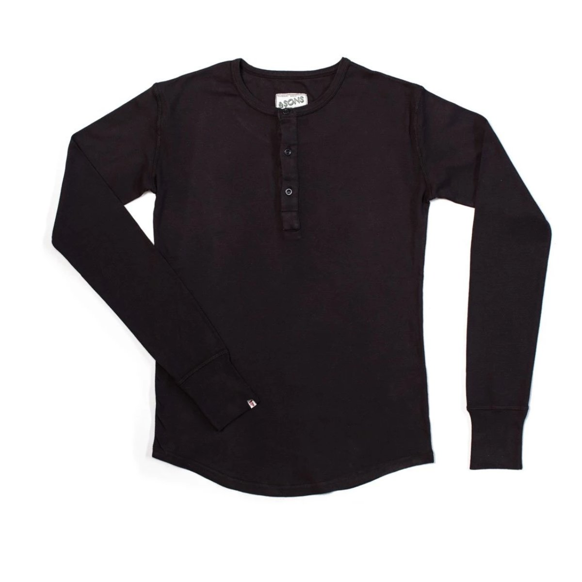 &SONS Elder Grandad Top | Henley Shirt Long Sleeve | Heavy Cotton - Black
