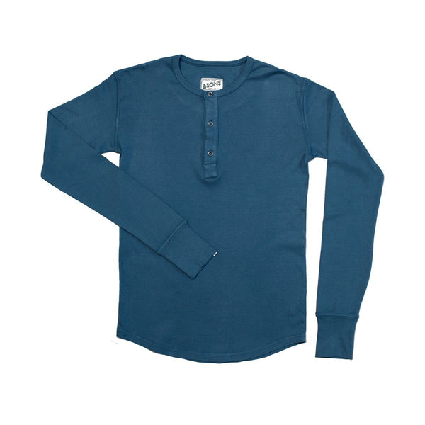&SONS | Elder Grandad Top | Henley Shirt Long Sleeve | Heavy Cotton | Indigo Blue