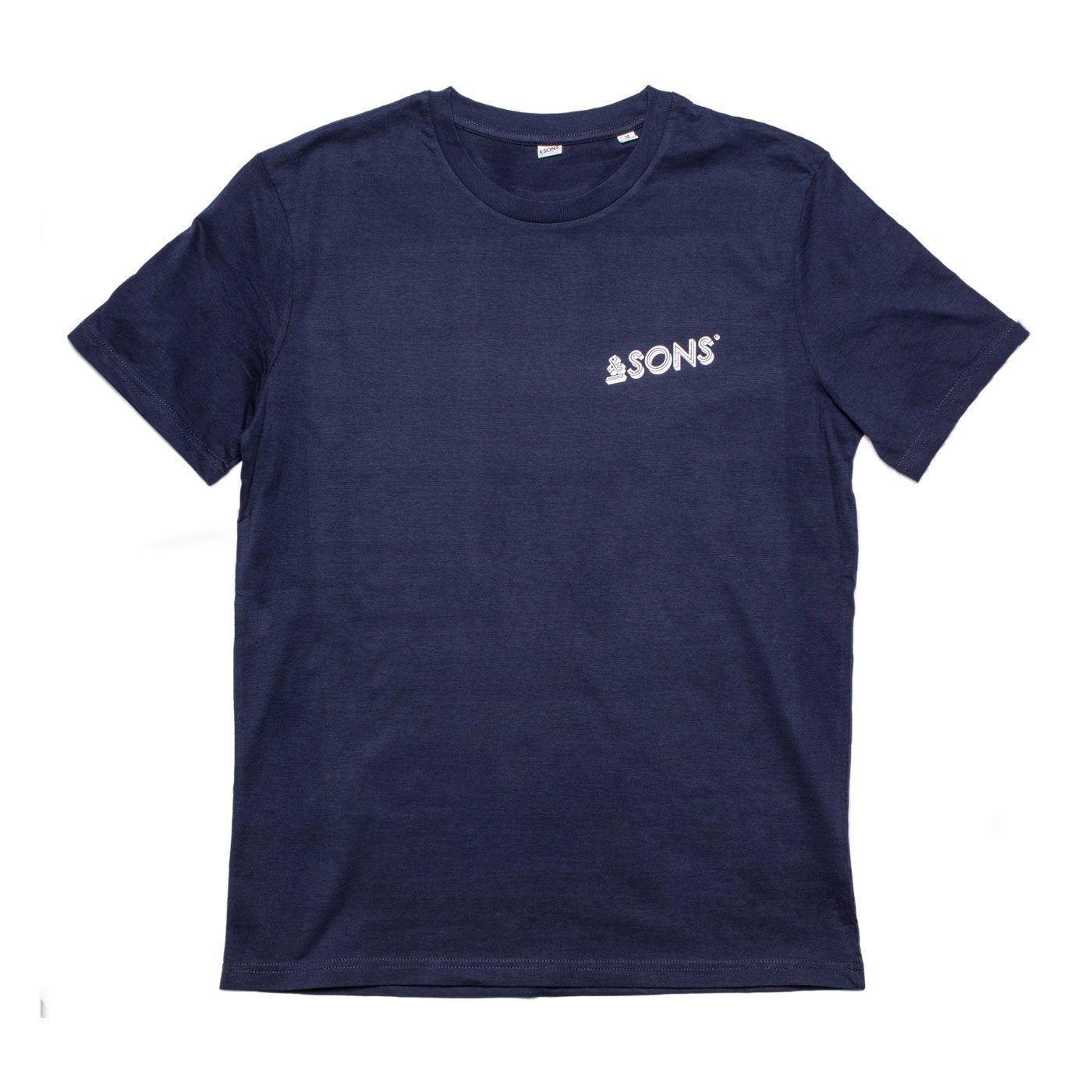 &SONS | Mens T-Shirt | 100% Cotton Navy Vintage Hand-Printed T-Shirt