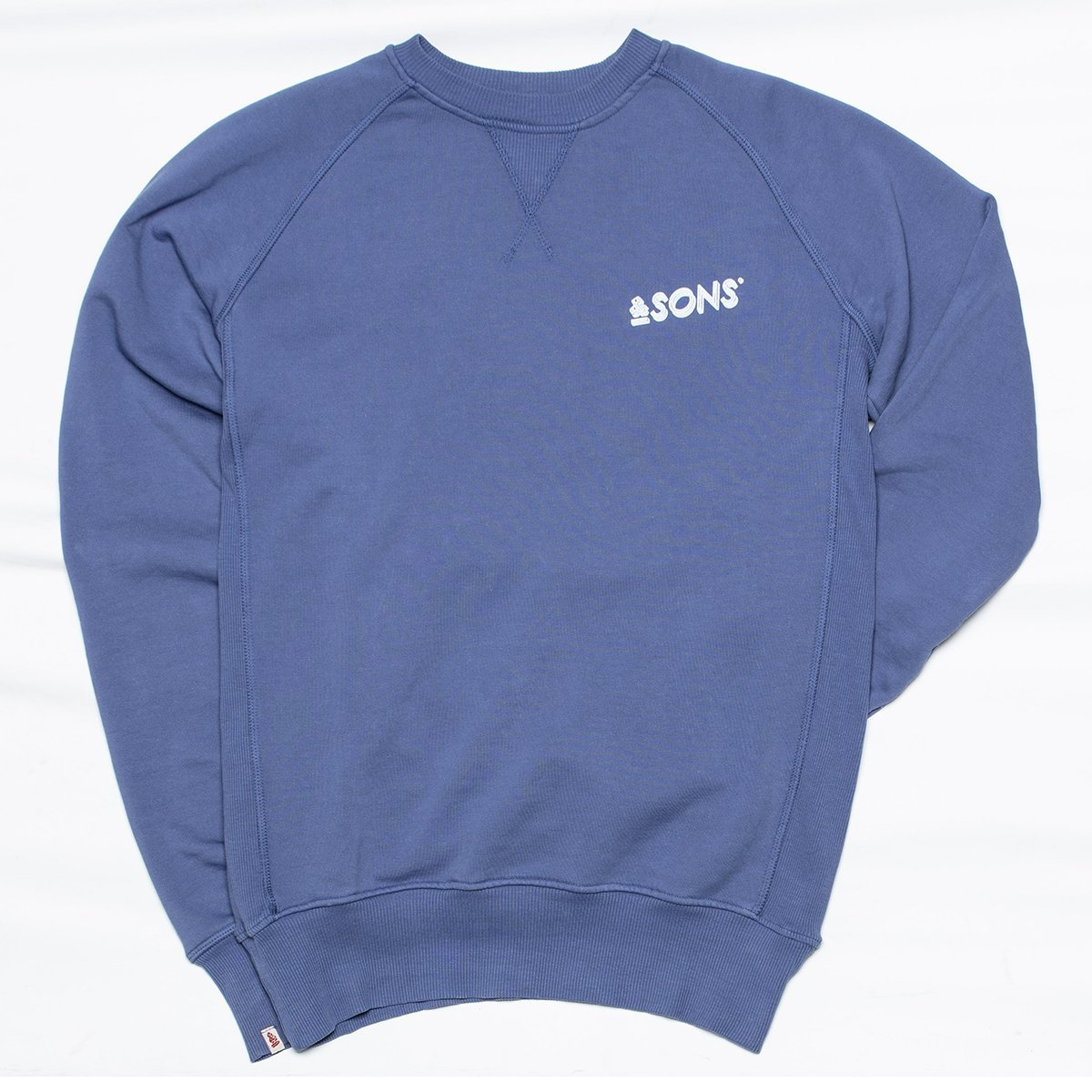 &SONS | Sky Blue Logo Sweatshirt Unisex | Light Blue Retro Sweatshirt | Sky Blue
