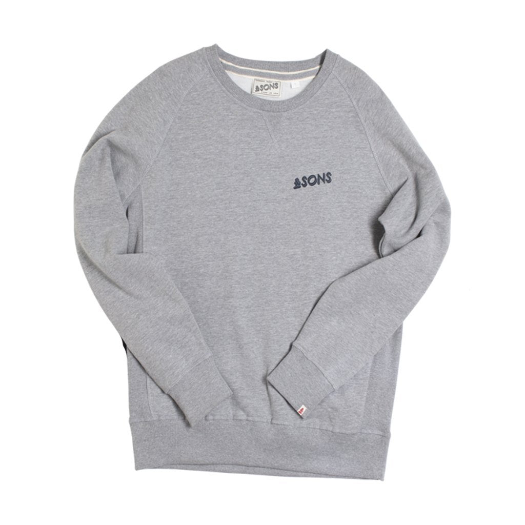 &SONS | Organic Cotton Sweatshirt | Retro Logo Sweatshirt | Grey