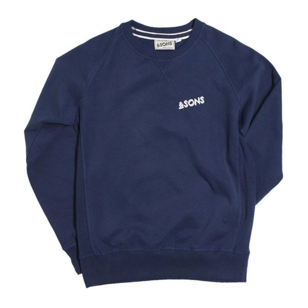 &SONS | Organic Cotton Sweatshirt | Round Neck | Unisex | Navy