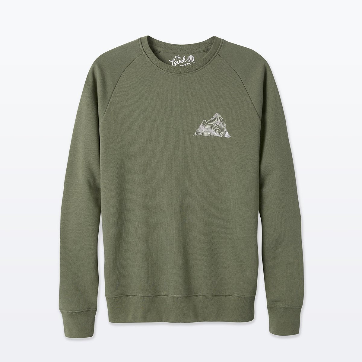 The Level Collective | Peaks Sweatshirt | Cotton Jumper | Khaki Green