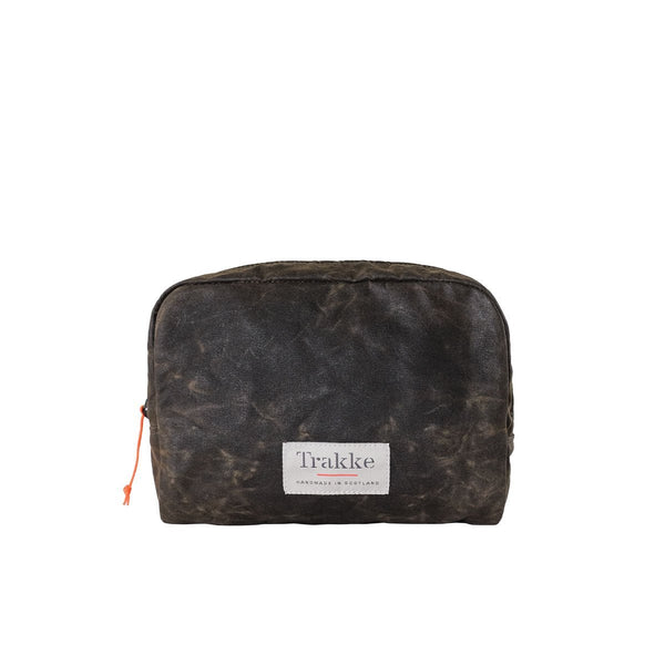 Trakke | Laggan | Waxed Canvas Wash Bag | Mens Toiletry Bag | Olive