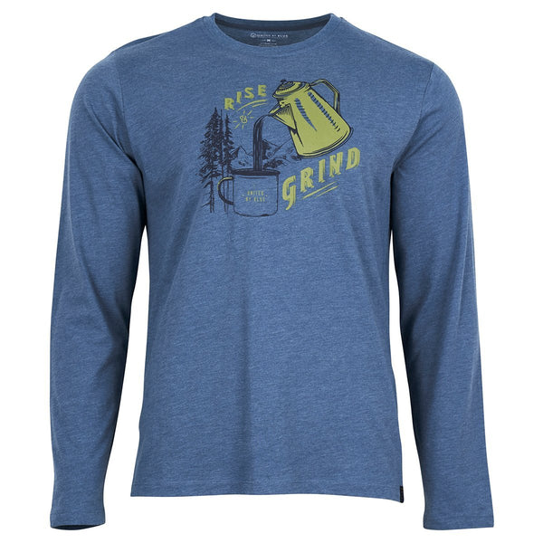 United By Blue | Men's Long Sleeve Graphic Shirt | Rise & Grind | Orion Blue