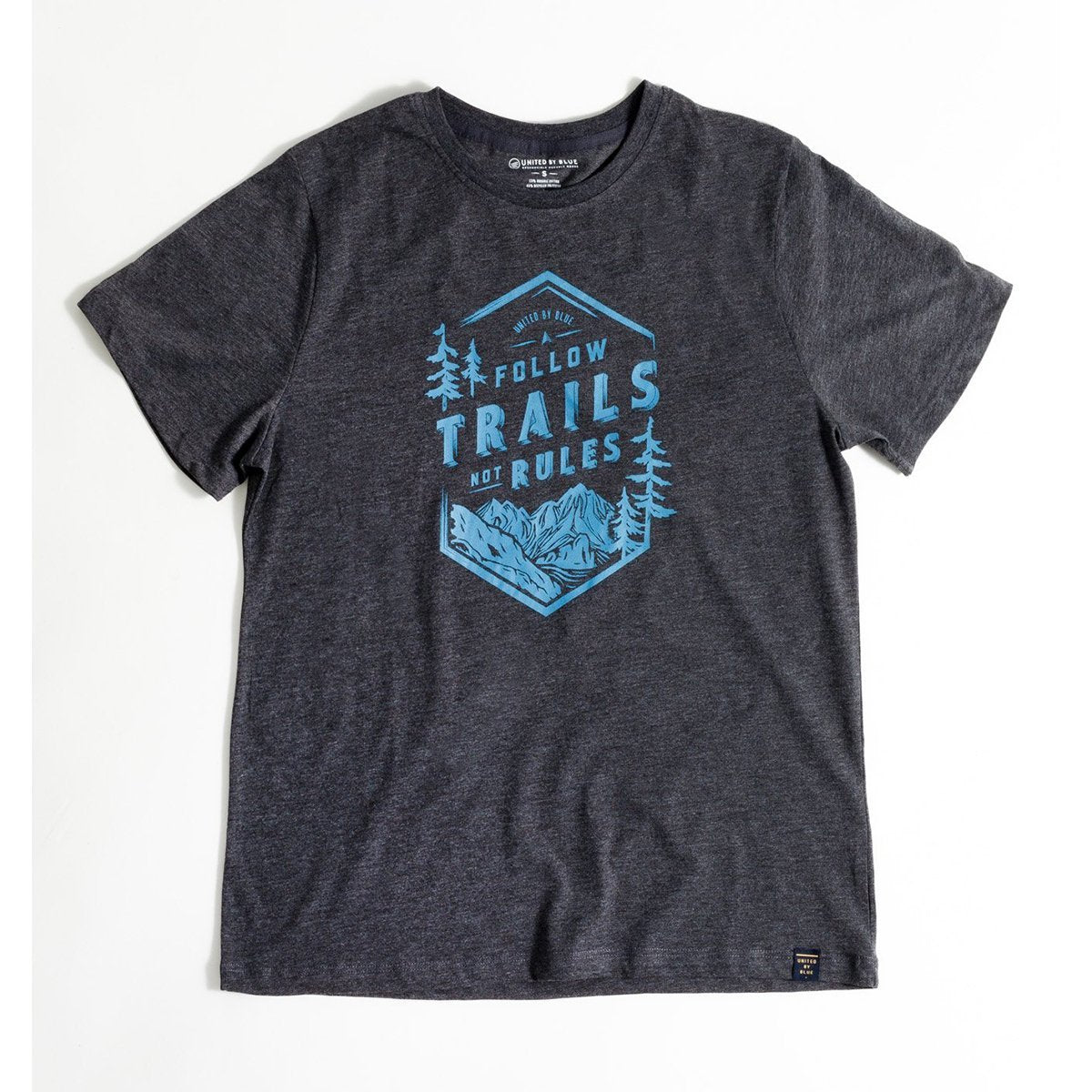 United By Blue | Mens Graphic T-Shirt | Organic Cotton T-Shirt | Follow Trails Not Rules - Black