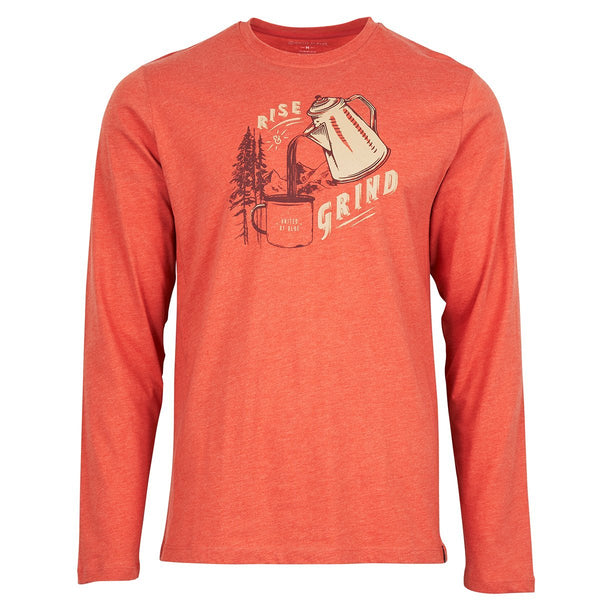 United By Blue | Men's Long Sleeve Graphic Shirt | Rise & Grind | Canyon Orange