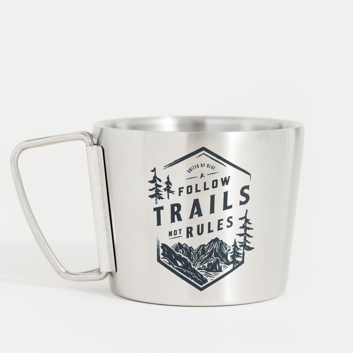 United By Blue | 12 oz Stainless Steel Compass Cup | Follow Trails Not Rules