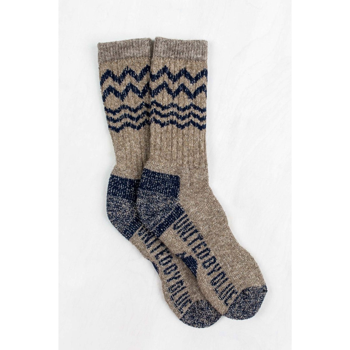 United By Blue | American Bison Sock | Bison Down Socks | Made in USA | Brown, Navy