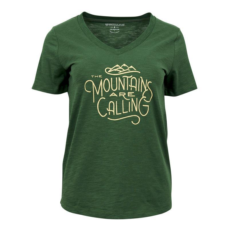 United By Blue | Women's Graphic T-Shirt | V-Neck Organic Cotton T-Shirt | Mountains Are Calling | Pine Green