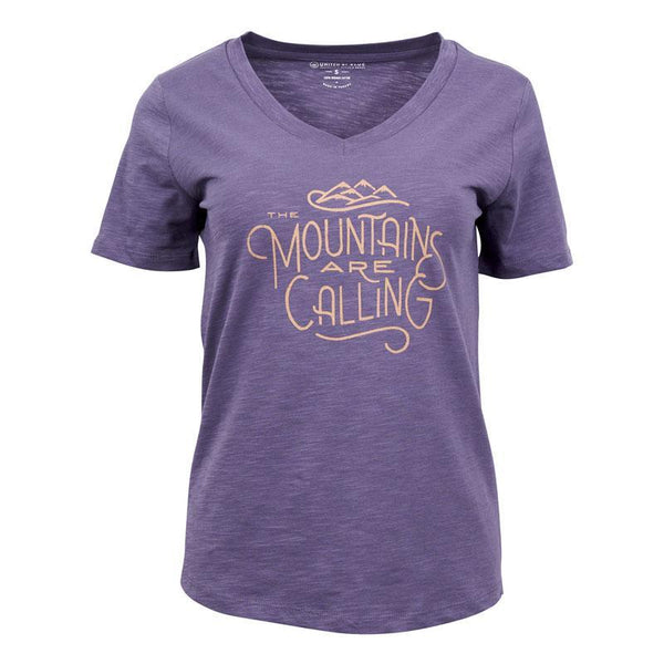 United By Blue | Women's Graphic T-Shirt | V-Neck Organic Cotton T-Shirt | Mountains Are Calling | Dusty Purple