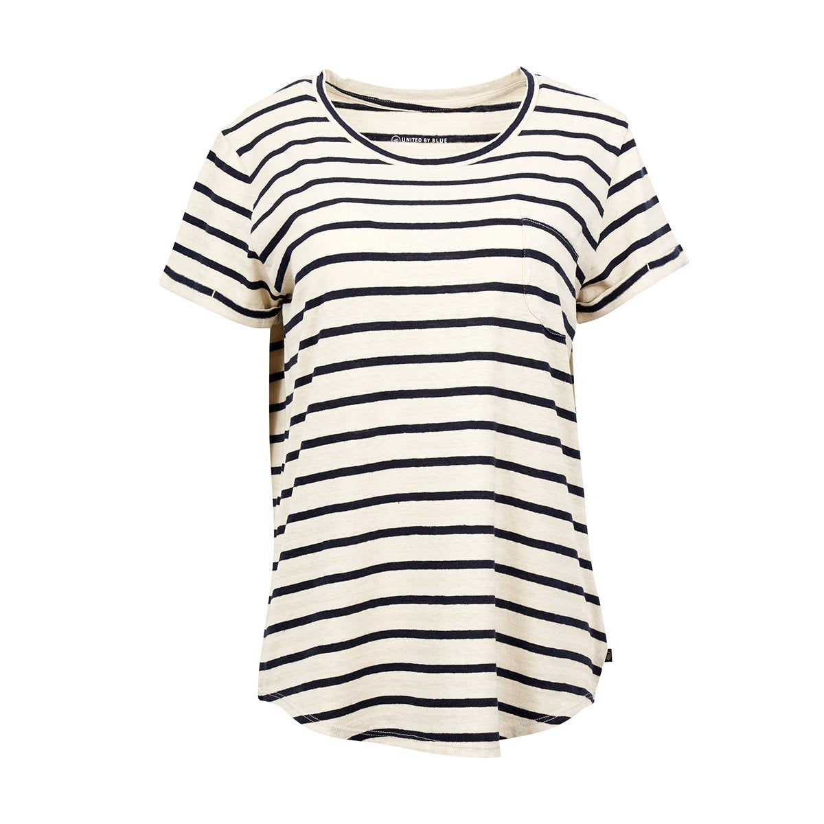 United By Blue | Womens Striped Pocket T-Shirt | Navy & Cream