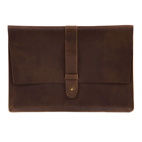 Aspen 13 inch 15 inch frontview BuckleandSeam classic leather macbook sleeve buy online
