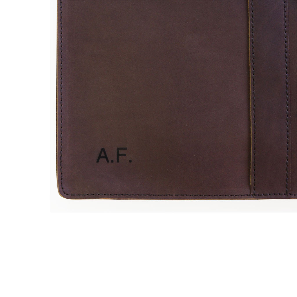 Aspen 13 inch initials BuckleandSeam classic leather macbook sleeve buy online