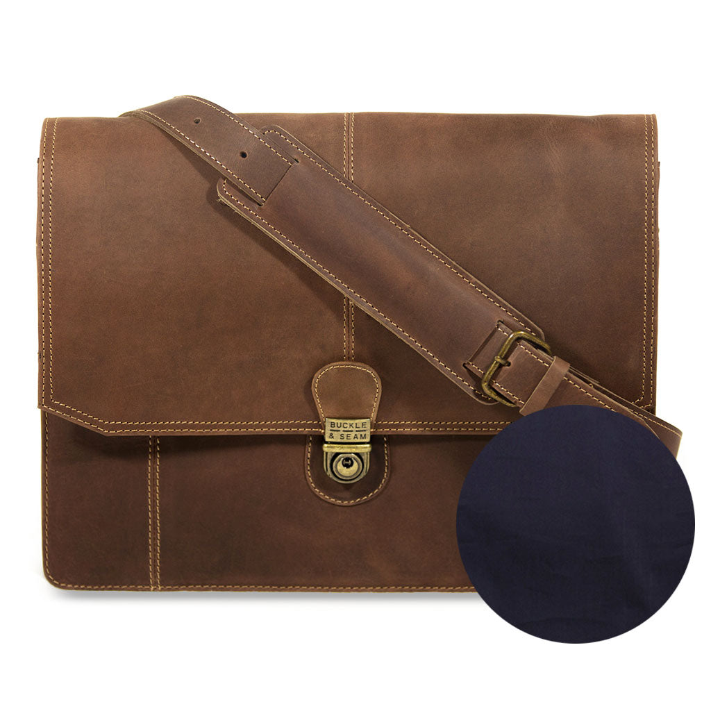Cara plain frontview BuckleandSeam vintage vegetable tanned leather messenger bag buy online