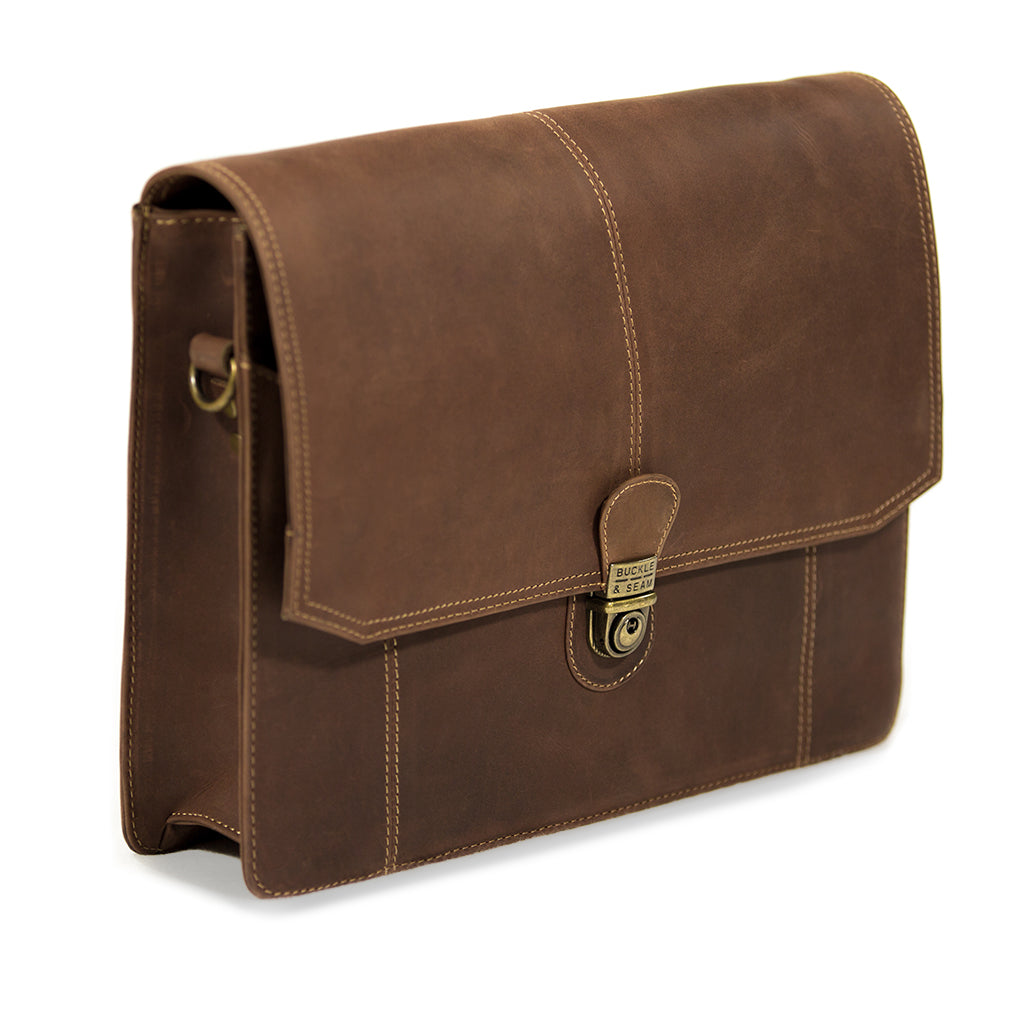 Cara plain side BuckleandSeam vintage vegetable tanned leather messenger bag buy online