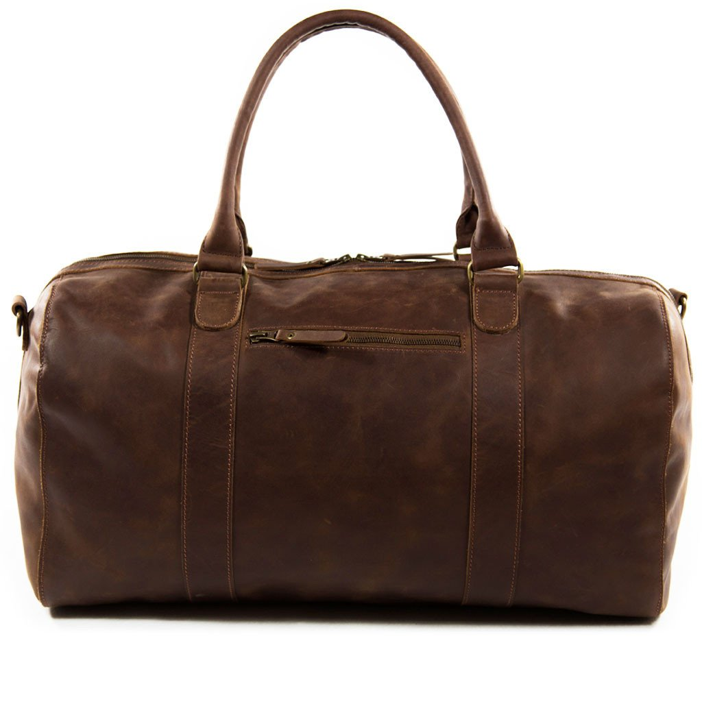 Willow frontview BuckleandSeam vintage vegetable tanned leather duffle bag buy online