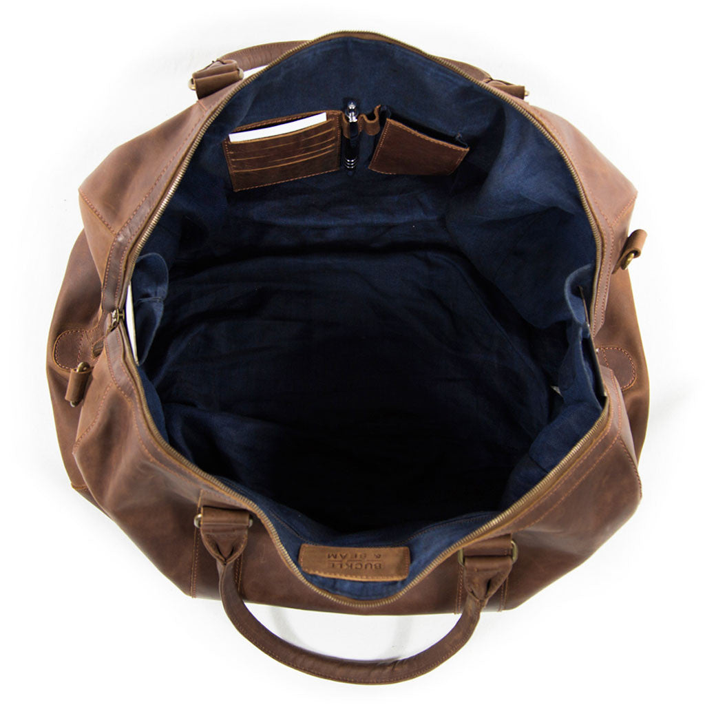 Willow inside BuckleandSeam vintage vegetable tanned leather duffle bag buy online