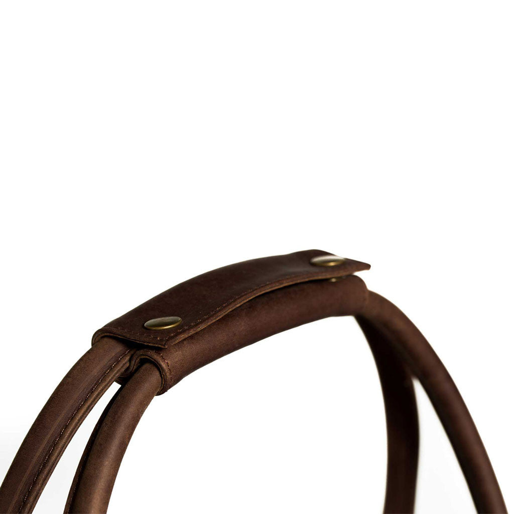 Lindwood handle detail BuckleandSeam vintage vegetable tanned leather weekender bag buy online