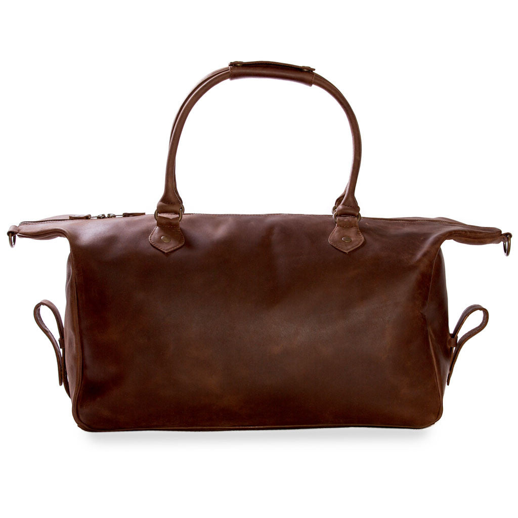 Lindwood back open sides BuckleandSeam vintage vegetable tanned leather weekender bag buy online