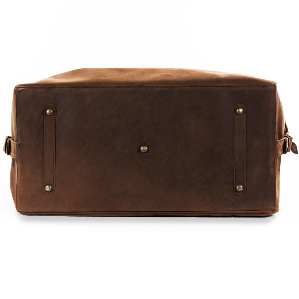 Lindwood below view BuckleandSeam vintage vegetable tanned leather weekender bag buy online