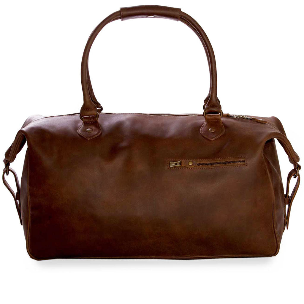 Lindwood frontview BuckleandSeam vintage vegetable tanned leather weekender bag buy online
