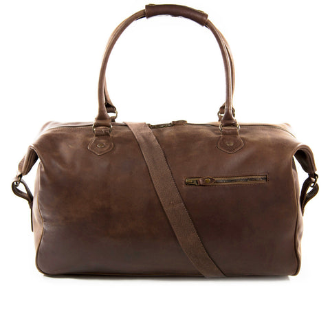 Lindwood frontview shoulder strap BuckleandSeam vintage vegetable tanned leather weekender bag buy online