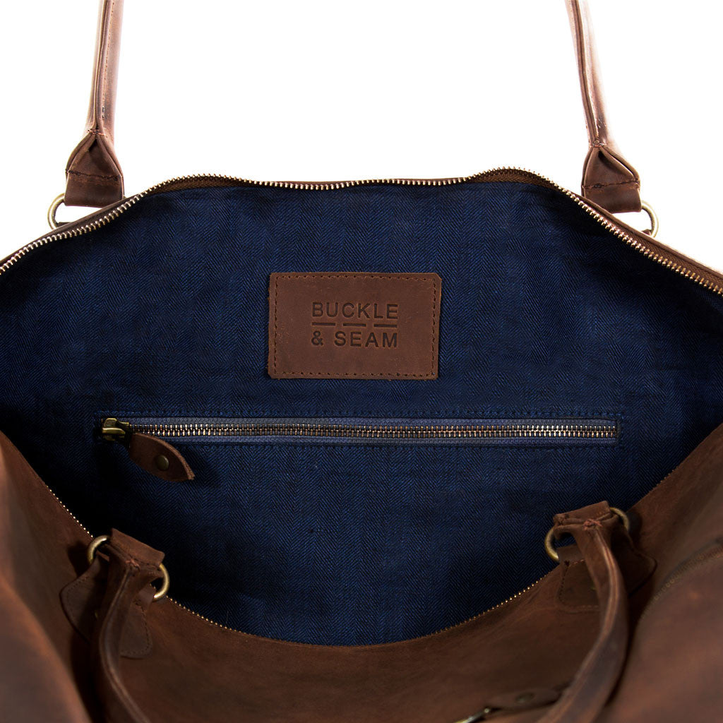 Linwood inside strap BuckleandSeam vintage vegetable tanned leather weekender bag buy online