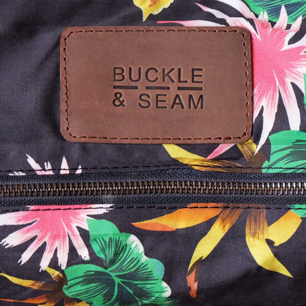 Willow tropical print BuckleandSeam vintage vegetable tanned leather duffle bag buy online tropical