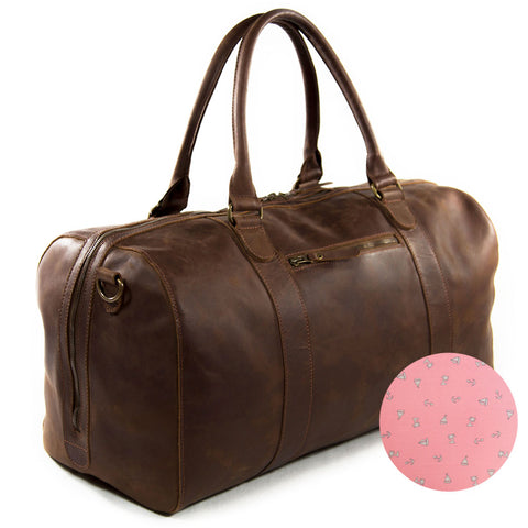 Willow pink anchor print BuckleandSeam vintage vegetable tanned leather duffle bag buy online tropical