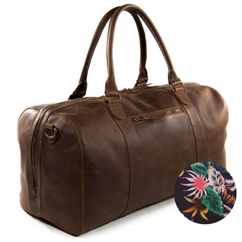 Willow frontview BuckleandSeam vintage vegetable tanned leather duffle bag buy online tropical