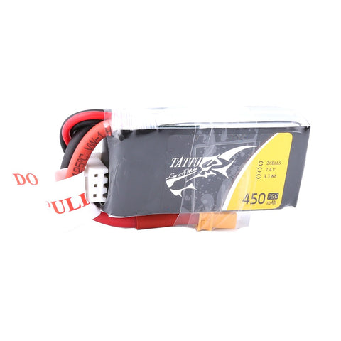 Gens ACE Tattu  450mAh 2S 75C 7.4V Lipo Battery Pack with XT30 Plug