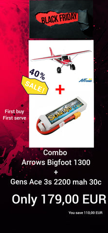 PROMO COMBO BLACK FRIDAY Arrows RC Bigfoot 1300mm PNP + Gens ace 3s 2200mah 30c