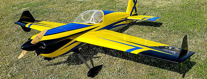"Extreme Flight 74"" Slick 580 EXP Blue/Yellow/black scheme- ARF"