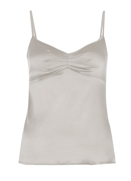 Samantha Stretch Silk Satin Camisole Silver