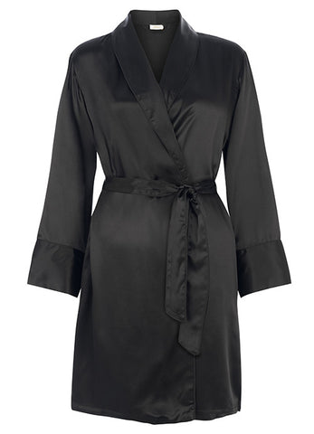 Coco Silk Satin Robe Black