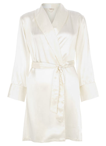 Coco Silk Satin Robe Cream