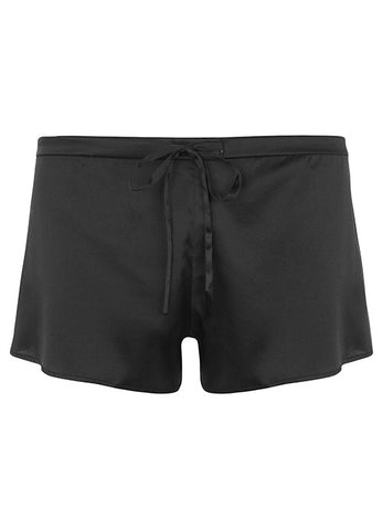 Samantha Stretch Silk Satin Short Black