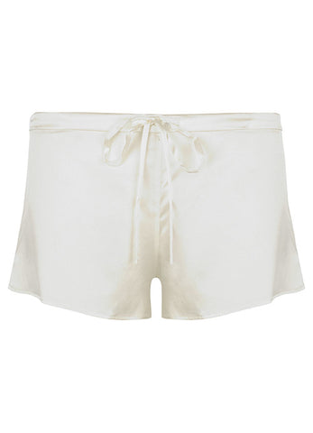 Samantha Stretch Silk Satin Short Cream