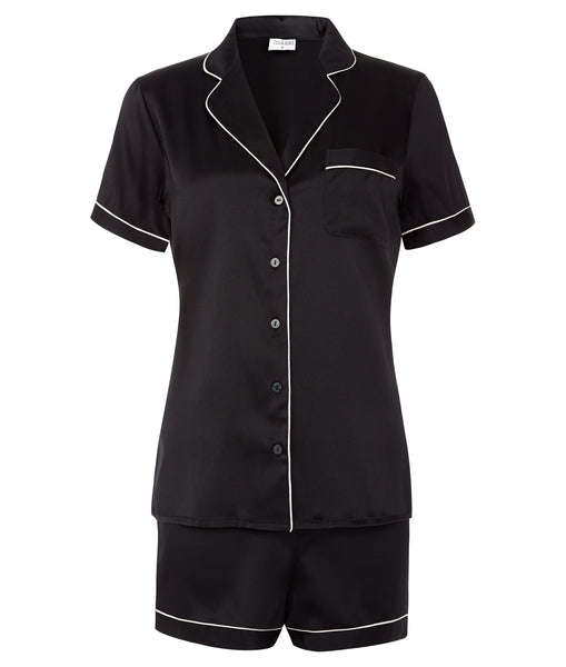 Isabella Stretch Silk Satin Pyjama Set Black