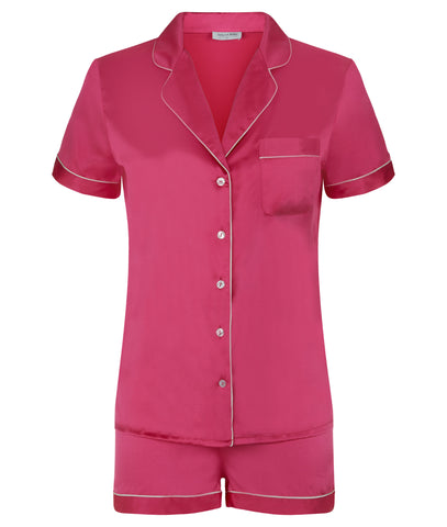 Isabella Stretch Silk Satin Pyjama Set Ruby Rose