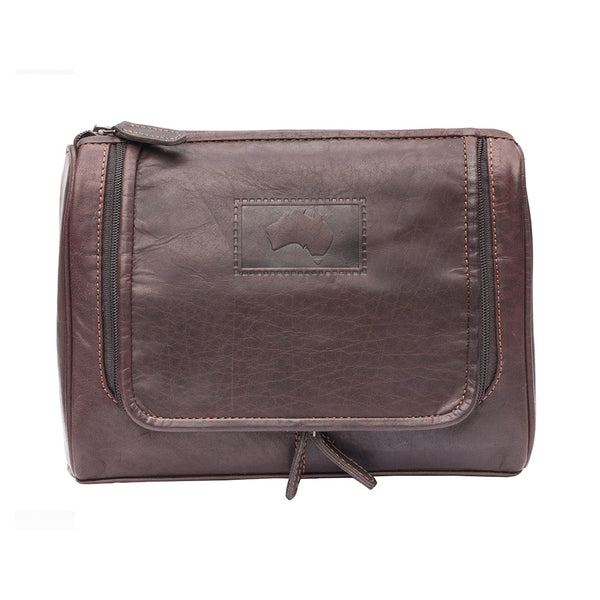 48d949cf11 Luxury Brown Outback Leather Hanging Toiletry Bag - The Leather Vault of  Stamford